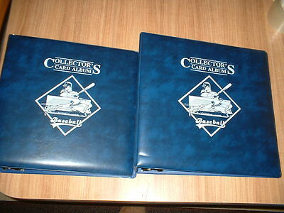 2 Baseball Collector's Card Albums Blue & 20 Plastic Sleeve Mint Cond Free Ship