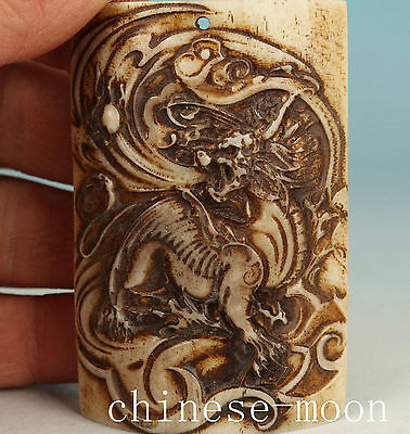 Lucky Chinese Old Not Plastic Handmade Carved Dragon Statue Pendant Ornament