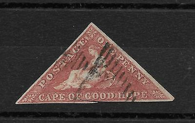 Cape of Good Hope,1855-63, SG 5ab  1d. deep rose red, FINE USED, very good margi