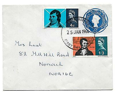 QE II,, 1966, LISTER, SG 685-6, on fine FDC WITH PRE-STAMPED embossed 4d. entire
