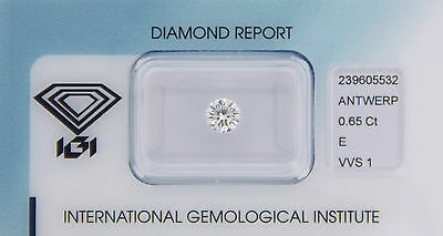 Diamond 0,65ct E VVS 1 Round IGI Certificate  - Laserscribe and Sealed -