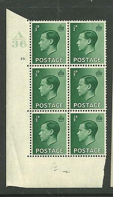 1936 KEVIII 1/2d Cylinder block of 6 with listed Variety/flaw. Unmounted mint.