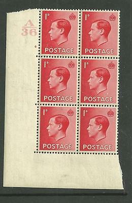 1936 KEVIII 1d Cylinder block of 6 ( 4 no dot). Unmounted mint.