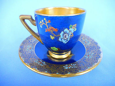 A  W & R  Carlton Ware   Cabinet Cup/saucer ~ Mikado On Mottled Blue ~ Super !