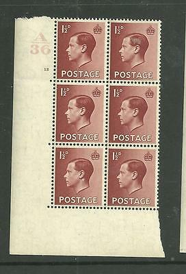 1936 KEVIII 11/2d Cylinder block of 6 ( 13 no dot). Unmounted mint.