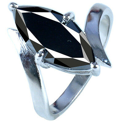 3.67 ct AAA BLACK COLOR REAL MOISSANITE MARQUISE CUT .925 SILVER RING SIZE 7