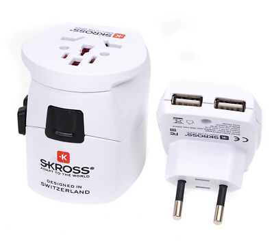 Skross World Travel Adapter Pro Plus + Dual Usb 150 Countries Worldwide White