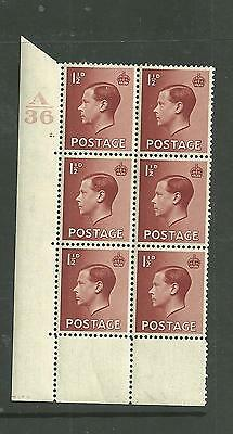 1936 KEVIII 11/2d Cylinder block of 6 ( 2 dot). Unmounted mint.