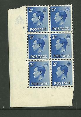 1936 KEVIII 21/2d Cylinder block of 6 ( 2 no dot). Unmounted mint.(2)