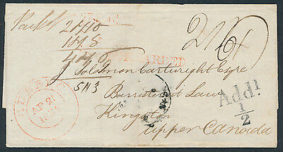 1835 Trans-Atlantic Stampless, Dundee Scotland to Kingston UC, Scottish Road Tax