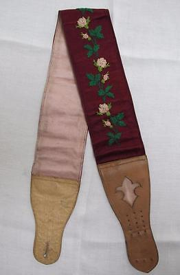ANTIQUE VICTORIAN FLORAL EMBROIDERED MENS SINGLE BRACES SUSPENDER c1860