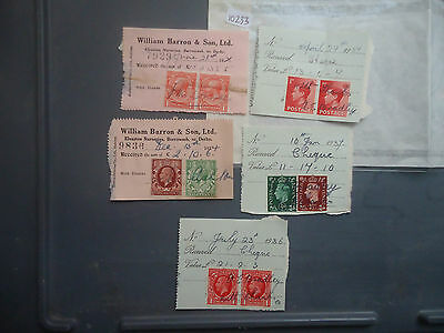 great britain 1928-37 7 old reciepts 9 different stamps used