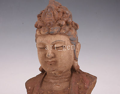 Wood Temple Consecrate Buddha Statue Vintage Collectable Old Kwan-Yin