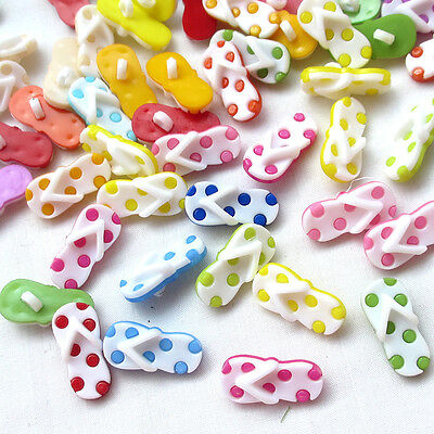 New 50/250pcs Plastic Mix Slipper Buttons 22mm Sewing Craft Back Holes