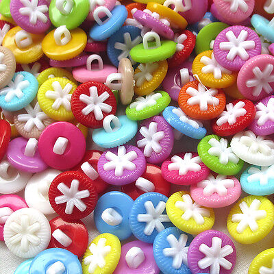 New 100/500pcs Colorful Plastic Buttons 15mm Sewing Craft Back Hole