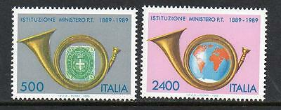 Italy Mnh 1989 Sg2035-2036 Centenary Of Ministry Of Posts And Telecomms