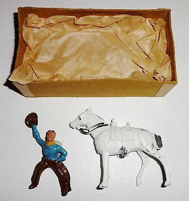 1953 Vintage Boxed Crescent Lead Cowboy And Horse