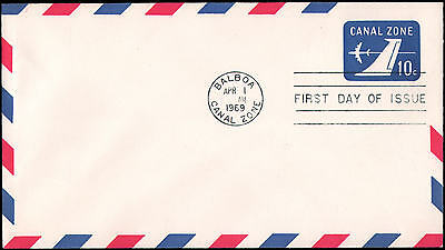 Canal Zone #UC11 FDC, 1969, air mail postal stationery