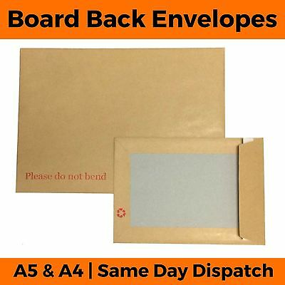 Hard Board Backed Envelopes - Please Do Not Bend A5 C5 A4 C4 Manilla Brown Card