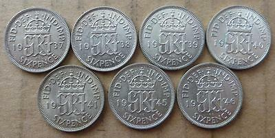 Great Britain 6 pence lot. 7 coins Unc. MD-2020