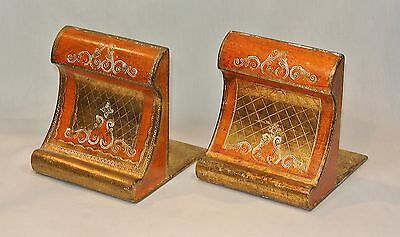 Vintage FLORENTINE GILT Italian Wood Toleware BOOK ENDS Pair Thick and Chunky