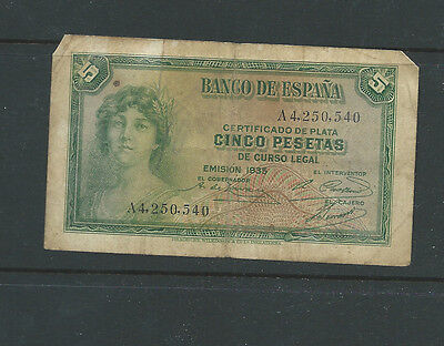 Spain  Banco de Espana 1935 old used 5 pesetas banknote (f)
