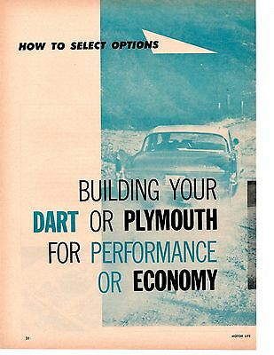 1960 Dart Or Plymouth Options For Performance Or Economy ~ Original 6-Pg Article
