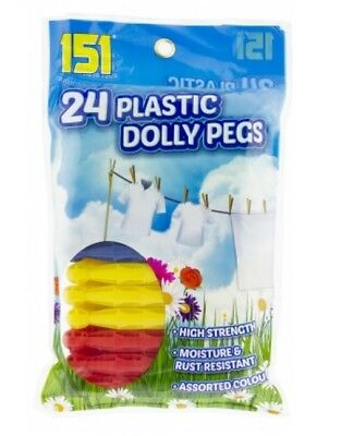 Pack Of 24 Multicoloured Plastic Laundry Traditional Dolly Clothes Line Pegs