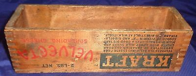 BG524 Vtg Wooden Wood Box Kraft Velveeta Spreading Cheese