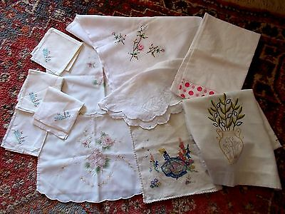 Antique~Vintage Linen~Embroidered Crinoline Lady Bag~Napkins~Table Cloth~Runner