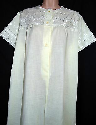 Vintage Unworn Quality Embroidery Anglaise Poly-Cotton Soft Yellow Nightdress Xl