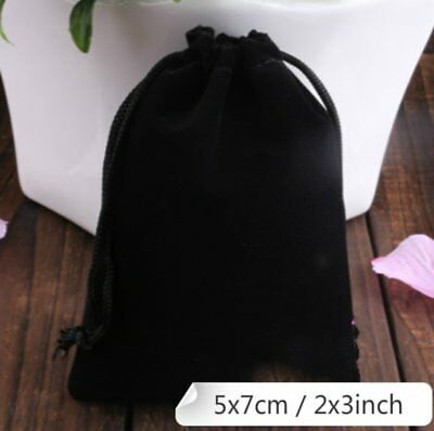 100 Black Velvet Drawstring Square Jewellery Packaging Pouches Gift Bags 5 x 7cm