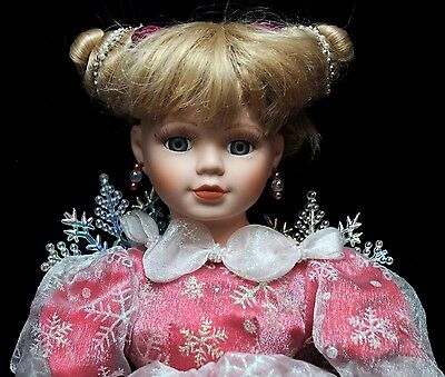 Porcelain Christmas Angel Doll With Snowflake Wings -  Beautiful & Delicate