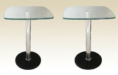 Pair of Orsett Clear Glass with Marble Base Lamp Side End Table