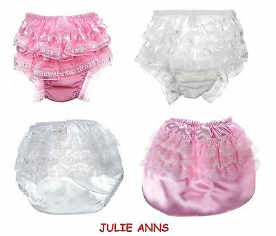 Baby Girls White Pink Cotton Pants Knickers  0-6 6-12 12-18 Months