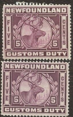 Revenue Stamps Canada, # NFC 5, 5¢, 1870, customs duty, lot of 2 used stamps.