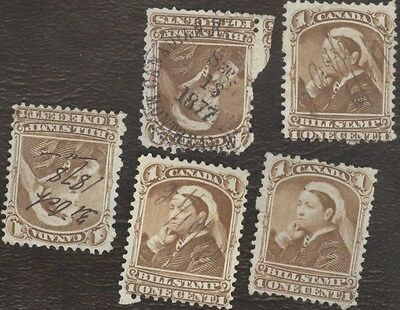 Revenue Stamps Canada # FB 37, 1868, Third Bill Issue, lot of 5 used stamps.