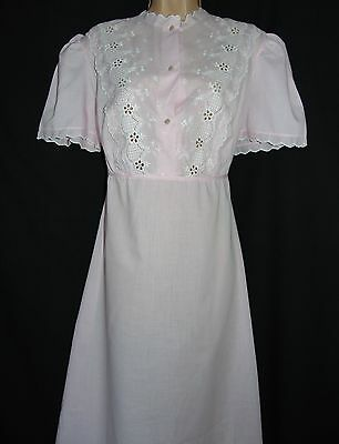 Vintage Unworn Quality Embroidery Anglaise Poly-Cotton Rear Ties Nightdress L