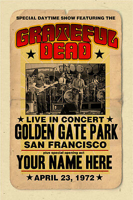 Your name on GRATEFUL DEAD concert poster personalized