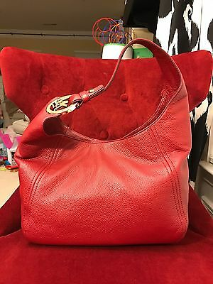 Nwt Michael Kors Leather Fulton Large Slouchy Shoulder Hobo Bag In Cherry