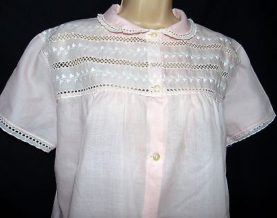 Vintage Teresa Wasche Quality Pink Embroidery Anglaise Nightdress, Medium -Large