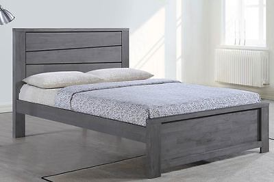 Modern Solid Wooden Bed Frame Grey-Silver Double/King Size Country Rustic Style