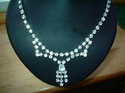 stunning vintage 50s diamante necklace. with central drop-bridal?