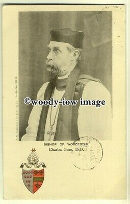 su1918 - An Early Bishop of Worchester, Charles Gore DD & Crest - postcard