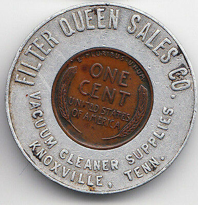 Knoxville Tenn encased 1946 cent - Filter Queen Sales Co - Vacuum - WW2 Victory