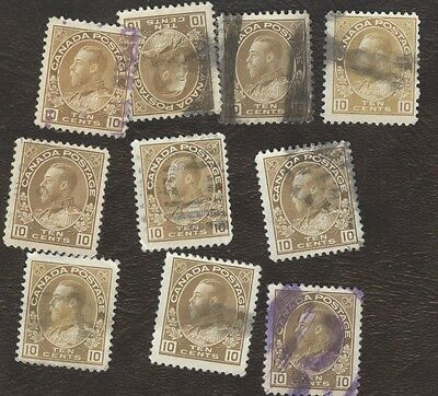Stamps Canada # 118, 10¢, 1922, lot of 10 used stamps.