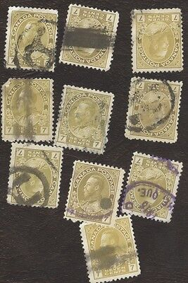 Stamp Canada, # 113, 7¢, 1912, lot of 10 used stamps.