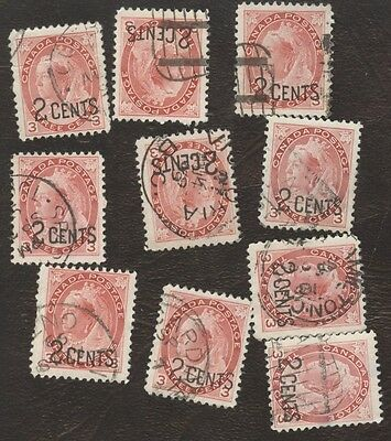 Stamp Canada # 88, 3¢, 1899, lot of 10 used stamps.