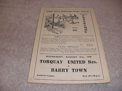 Torquay United Reserves v Barry Town  31/8/49.  Southern League.
