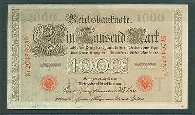 Germany 1000 Mark 1910 aUNC/UNC P# 44b - IMPERIAL BANK NOTES